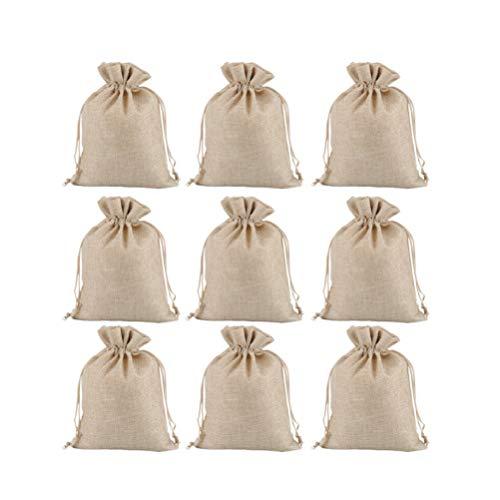 VOSAREA 12pcs 15x20cm Bolsa de Lino con cordón Bolsas de Regalo de arpillera Bolsas de joyería Bolsas de Yute de Boda Hessian para Navidad cumpleaños favores de la Boda (Beige)