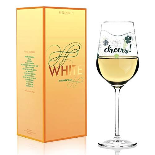 RITZENHOFF White Weißweinglas von Lenka Kühnertová, aus Kristallglas, 360 ml, mit edlen Platinanteilen