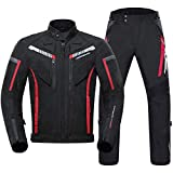 Sportinents Juego de Carreras de Motocicleta Impermeable Chaqueta de Motocicleta de Engranaje de protección + Pantalones de Motocicleta Protector Conjunto de Ropa MC1009BK One Set XXL