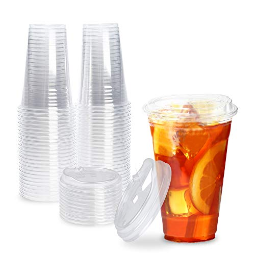 [50 Pack] Disposable Strawless Plastic Cups with Lids - 20 Oz Clear Plastic Cups and Sippy Cups...