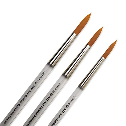 AIT Art Round Paint Brushes, Set of 3 Brushes, Clear Acrylic Handles with Beveled End, Handmade in USA (8, 10, 12)