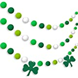 Tatuo 3 Pieces Pom Pom Garlands St. Patrick's Day Pom Garlands Felt Shamrock Clover Garlands Irish Wall Hanging Garlands for St. Patrick's Day Irish Party Indoor Outdoor Home Supplies