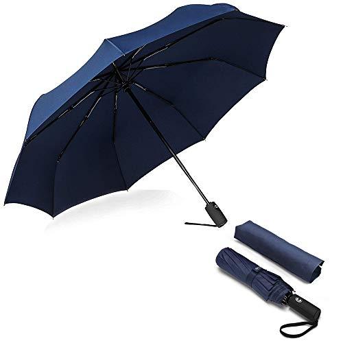 Paraguas Plegables y Compacto, Paraguas de Viaje Plegable Clásico, a Prueba de Viento y Nieve, con Tela hidro-Repelente, Fibra de Vidrio 210T - Duradero Paraguas de Viaje