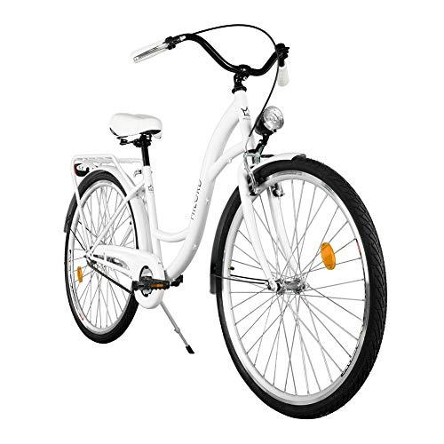 Milord. Komfort Fahrrad mit Gepäckträger, Hollandrad, Damenfahrrad, 1-Gang, Weiß, 26 Zoll