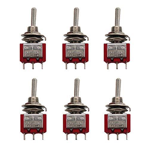 mxuteuk MTS-123 3 Terminal 3 Posiciones SPDT Mini interruptor de palanca en miniatura momentáneo para salpicadero de coche (ON)/OFF/(ON) 5A 125V 2A 250V