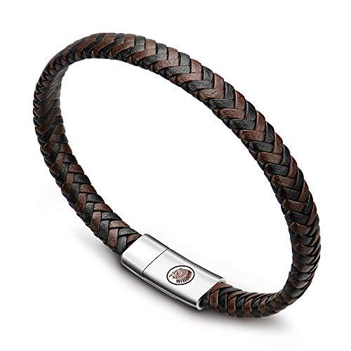 Photo de bracelet-cuir-homme-manchette-tresse-a-la-main