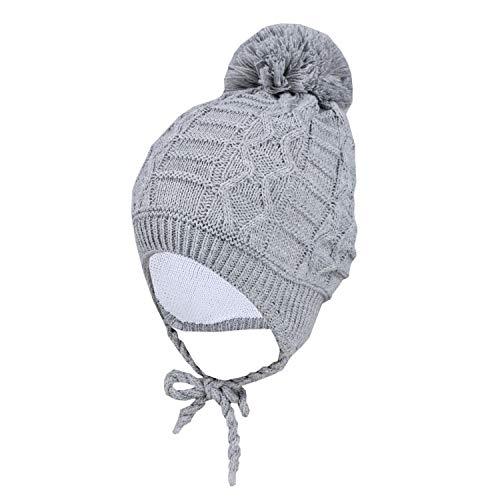 TupTam Baby Winter Mütze Strickmütze zum Binden, Farbe: Grau, Größe: 39-41