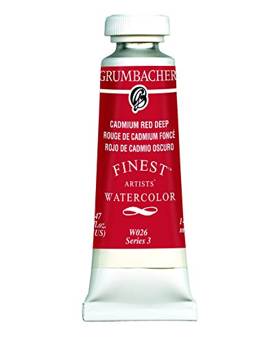 Grumbacher Finest Watercolor Paint, 14 ml/0.47 oz, Cadmium Red Deep