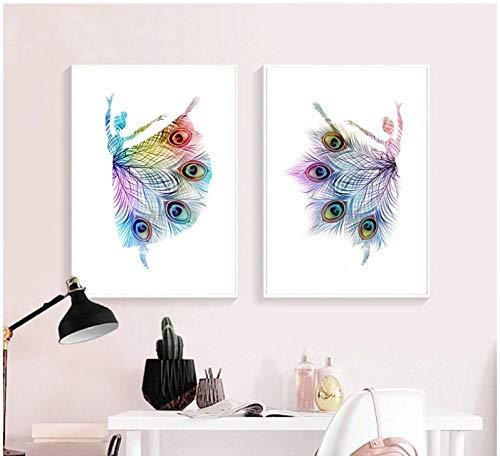 DLFALG abstracte ballerina dansen prints pauwenveren kleurrijke silhouet poster baby meisje muurkunst canvas schilderij decoratie - 40 * 60cm * 2 niet ingelijst
