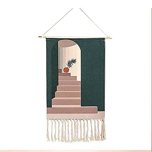 H-BEI Macrame Woven Wall Hanging Tapestry,Handmade Wooven Tufted Tassel Steps Tapestry Bohemian Style, Living Room Bedrooms Fabric Background Cloth