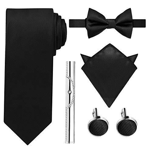 HBselect Krawatte Set inkl. Krawatte + Fliege + Einstecktuch + Manschettenknöpfe + Krawattennadel + Schachtel als Geschenkbox (Schwarz)