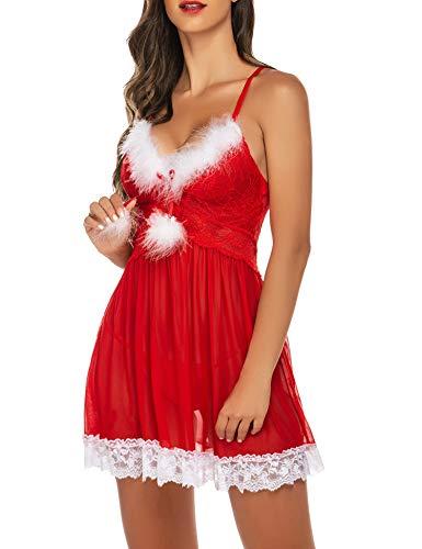 Avidlove Weihnachtsunterwäsche für Damen, sexy grünes Weihnachtsmannkleid, Grün, Babydolls, Spitze, Unterhemd, S-XXL - Rot - Small