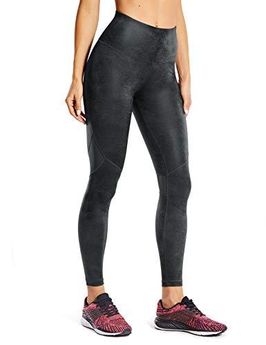 CRZ YOGA Damen Kunstleder Leggings Gym Sport Pants Stretch Leder-Optik Leggins-63.5cm Coast Grey 40