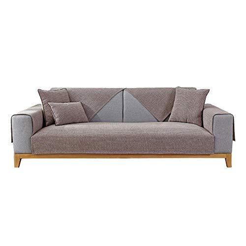 YUTJK Fundas de Almohada cuadradas Funda de sofá, Suaves para el sofá, el Dormitorio y el Coche,Puede ser Alfombra,Cubierta monocromática del sofá de la casa de Chenille,marrón_90×120cm