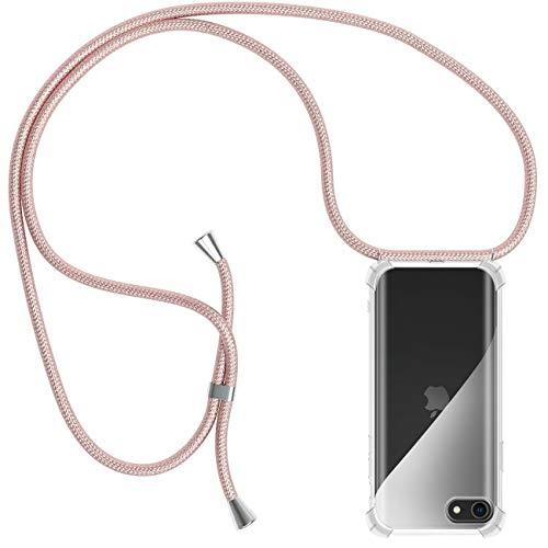 Funda con Cuerda para iPhone 5 / 5S / SE, Carcasa Transparente TPU Suave Silicona Case con Correa Colgante Ajustable Collar Correa de Cuello Cadena Cordón para iPhone 5 / 5S / SE - Oro Rosa