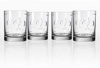 Rolf Glass Fleur De Lis Double Old Fashioned Glass 14 ounce - Whiskey Glass Set of 4 - Lead Free Crystal Glass - Etched Whiskey Tumbler Glasses - Made in the USA