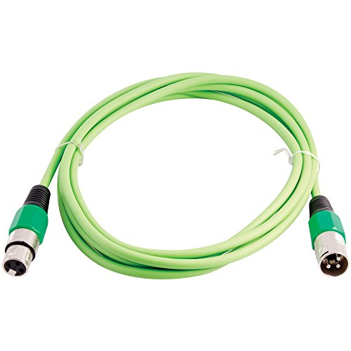 Grindhouse Speakers - LEXLR-10Green - 10 Foot Green XLR Patch Cable - 10 Foot Microphone Cable Mic Cord