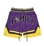 BAAFG Pantalones Cortos de Baloncesto para Hombres Retro Bordado Pantalones Cortos de Baloncesto Secado rápido Malla Pantalones Cortos Estiramiento Correr Entrenamiento Purple-M