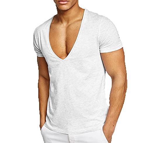 Camiseta con Cuello En V Profundo De Color SóLido Absorbente De Sudor De Verano para Deportes Y Ocio Hombre