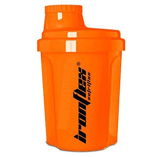 IronFlex Nano Shaker Confezione da 1 x 300 ml - Shaker per Proteine con Filtro - Bottiglia - Senza BPA (Orange)
