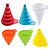 Anyasen Embudo Plegable 6 Piezas Embudo Plegable de Silicona embudos de Silicona Flexible Embudo para la Cocina Botella de Agua líquido Cocina tolva Plegable para Transferencia de líquidos Polvos