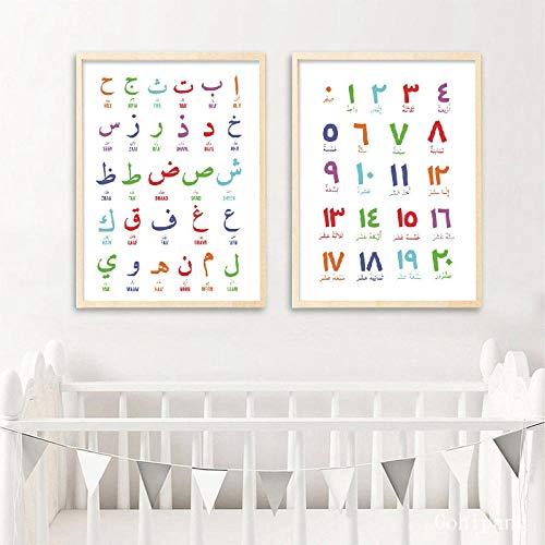 Árabe Islámico Arte De La Pared Pintura De La Lona Letras Árabes Alfabetos Números Póster Impresiones Arte De La Pared del Cuarto De Niños Decoración Niños Habitación Imágenes 16X20Inx2 Sin
