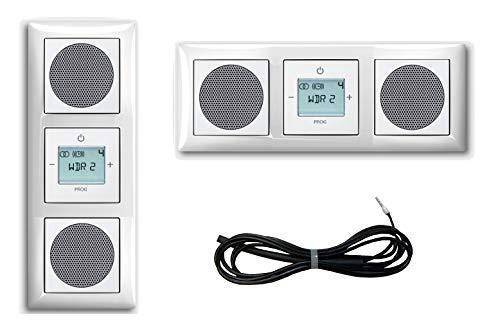 Busch Jäger Unterputz UP Digitalradio 8215 U (8215U) Komplett-Set Balance SI alpinweiß + 2 x Lautsprecher + 3 Fach Rahmen inkl. Abdeckungen + 3 Meter EBROM Wurfantenne zur Empfangsverbesserung
