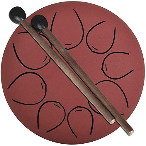 Tambor de Lengua de Acero, Tambor de la lengüeta de acero 8 notas 5 pulgadas Drum Percussion Instrumento con mazos, Etiqueta engomada tónica y bolsa de viaje, para camping Yoga Meditación Música Music