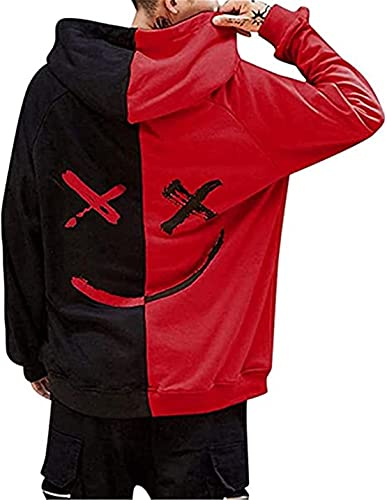 Men's Hooded Sweatshirts Smile Face Pullover Fashion Loose Hoodie Red