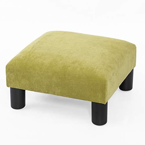 Adeco Small Ottoman – Footstool / Footrest - Geometric Art – Cuboid & Cylinder,15.7x15.7X9.1 ( Soft Fabric)