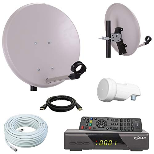 netshop 25 Digital Camping SAT Anlage 40 cm Spiegel + HD Sat Receiver + HD Single LNB + 10m Kabel