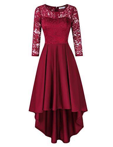KOJOOIN Damen Abendkleider/Cocktailkleid/Brautjungfernkleider für Hochzeit Unregelmässiges Kurzespitzenkleidangarm Bordeaux Weinrot,XL