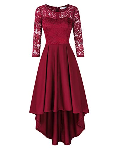 KOJOOIN Damen Abendkleider/Cocktailkleid/Brautjungfernkleider für Hochzeit Unregelmässiges Kurzespitzenkleidangarm Bordeaux Weinrot,S