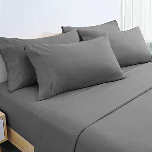 HOMEIDEAS 6 Piece Bed Sheets Set Extra Soft Brushed Microfiber 1800 Bedding Sheets Deep Pocket, Wrinkle & Fade Free (Queen,Gray)