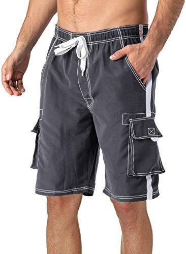 TACVASEN Männer Freizeitshorts Atmungsaktiv Mesh Shorts Badehose Schenlltrocknende Bermudas mit Taschen, Grau