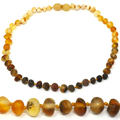 "Mama Natural Amber Necklace - 12.5"" - Truly Raw 100% Baltic Amber (Rainbow)"