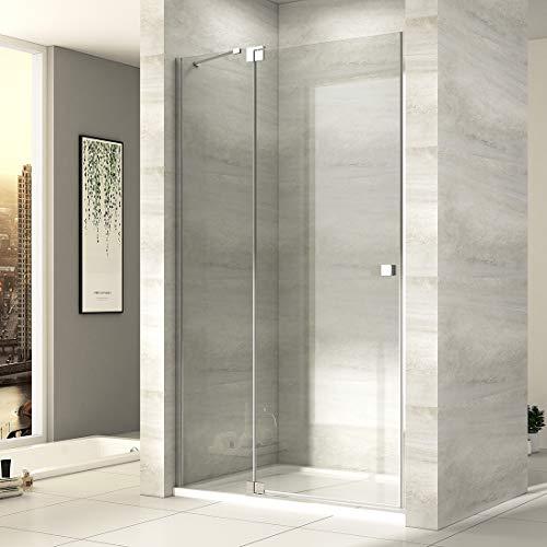 EMKE Duschtür 120cm Nischentür Duschabtrennung 8mm ESG klares Sicherheitsglas Rahmenlos Flächenbündiger Beschlag dusche Duschwand Duschkabine mit NANO Beschichtung Höhe: 190cm