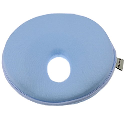 Topwon 8'' Infant Cradler Memory Foam Pillow Head-Shaping Pillow (0-12 Months) (Blue)