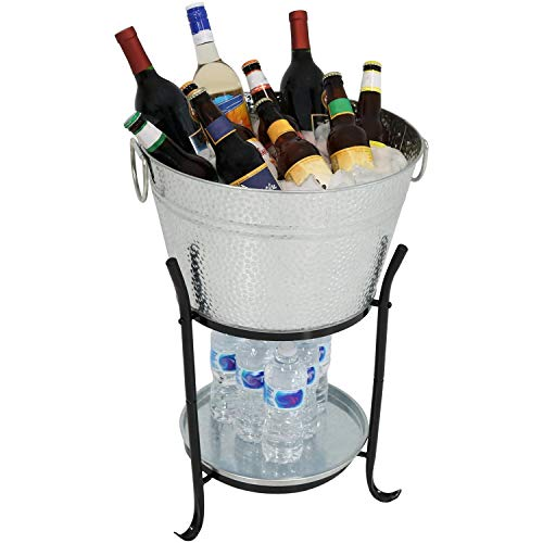 Sunnydaze Ice Bucket Drink Cooler with Stand and Tray for Parties, Pebbled Galvanized Steel, Holds Beer, Wine, Champagne and More