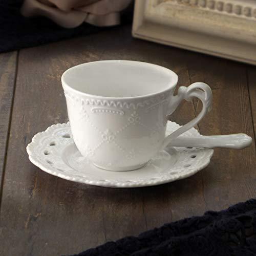 Set 6 Tazze da tè con piattino Shabby Chic Porcellana Colore Bianco Lis Collection