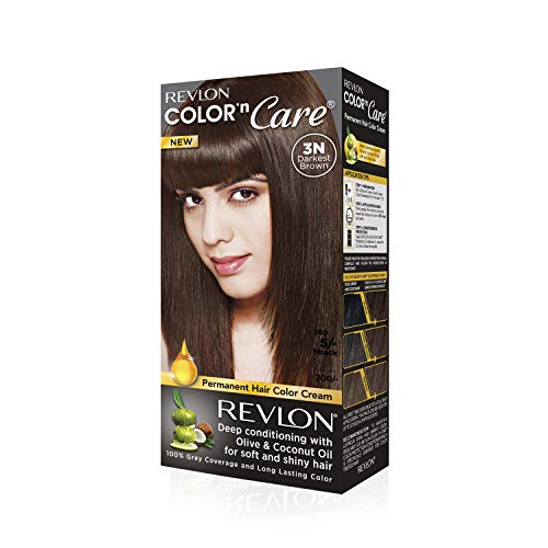 Revlon Color N Care Permanent Hair Color Cream, Darkest Brown 3N |With Olive and coconut Oil