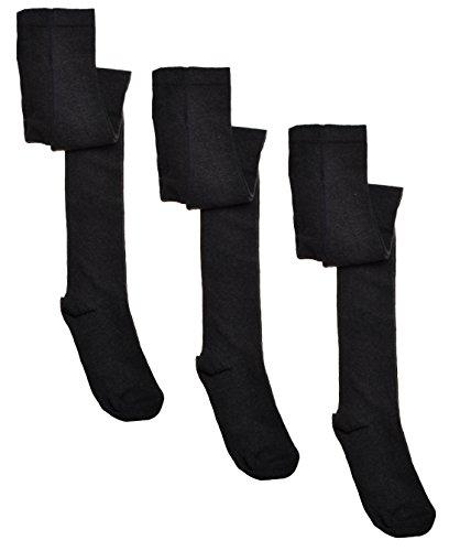 WB Socks 3 Paar Mädchen-Strumpfhosen, Grau - Schuluniform, Vielzahl an Größen erhältlich