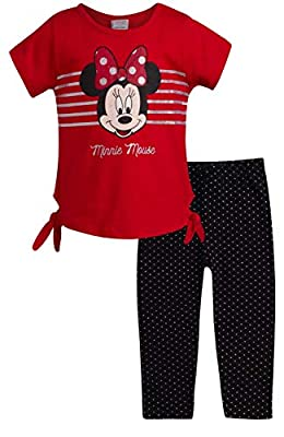 Disney Baby Girl Minnie Mouse and Princess T-Shirt and Legging Set, Red/Black Minnie, Size 12 Months'