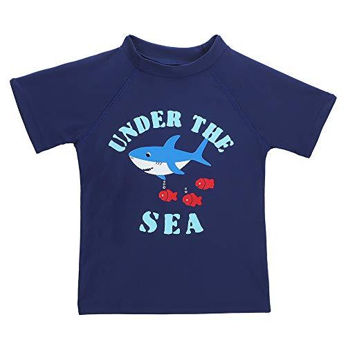 LACOFIA Traje de baño de Manga Corta para bebé Camiseta de baño para niños con protección Solar UPF 50 + Secado rapido Azul Marino 2-3 años