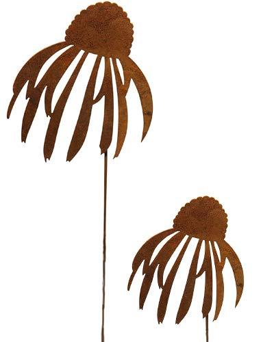 Bornhoft Trädgårdsinsats solhatt Echinacea blomma säng plugg metall rost trädgårdsdekoration patina solhatt uppsättning med 2 rostiga dekorationer