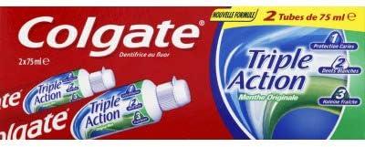 COLGATE - Dentifrice Triple Action Menthe Originale - Favorise une Bonne Santé Bucco-Dentaire - Contre les Caries, le...