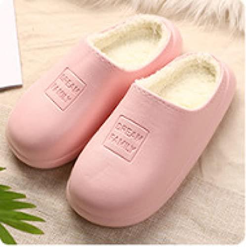 QPPQ Zapatillas de casa de algodón,Zapatillas Impermeables de Invierno, Zapatillas de Felpa cálida de algodón-Rosado_38/39,Zapatillas de casa de algodón