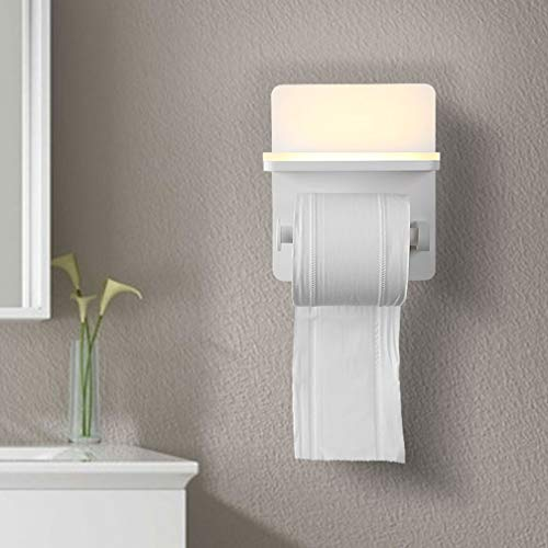 6W Wandmontierter Weiß Metall Toilettenpapierhalter mit LED Badezimmer Wandleuchten mit USB Ladeanschluss Kreative Metallrollenhalter Wandlampe L 15CM*W13.5CM*H18CM