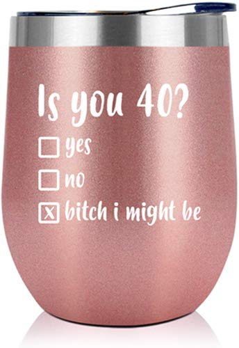 40th Birthday Gifts For Women - 1980 40th Birthday Decorations For Women - Gifts For Women Turning 40, 40 Year Old Birthday Gifts For Mom, Wife, Sisters, Her, Friends - 12 Oz Wine Tumbler