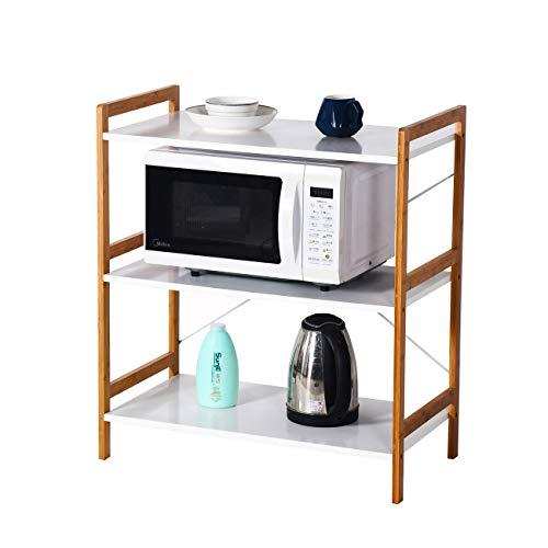 ZRI Bamboo Küchenregal Mikrowellenhalter Standregal Holz mit 3 Ablagen Stilvoller Haushaltsregal für Küche Wohnzimmer Büro 78x70x37cm Weiß